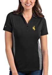 Antigua Wyoming Cowboys Womens Grey Venture Short Sleeve Polo Shirt
