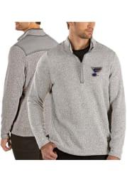 Antigua St Louis Blues Mens Grey Clover Long Sleeve 1/4 Zip Pullover