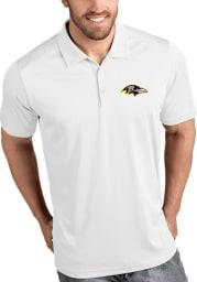 Antigua Baltimore Ravens Mens White Tribute Short Sleeve Polo
