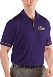 Antigua Baltimore Ravens Mens Purple Salute Short Sleeve Polo