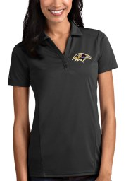 Antigua Baltimore Ravens Womens Grey Tribute Short Sleeve Polo Shirt
