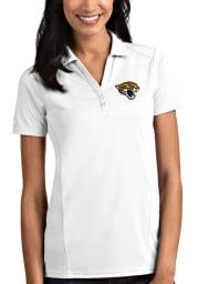 Antigua Jacksonville Jaguars Womens White Tribute Short Sleeve Polo Shirt