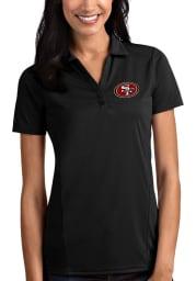 Antigua San Francisco 49ers Womens Black Tribute Short Sleeve Polo Shirt