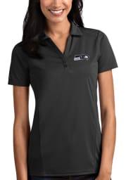 Antigua Seattle Seahawks Womens Grey Tribute Short Sleeve Polo Shirt