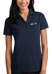 Antigua Seattle Seahawks Womens Navy Blue Tribute Short Sleeve Polo Shirt