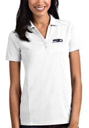 Antigua Seattle Seahawks Womens White Tribute Short Sleeve Polo Shirt