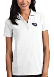 Antigua Tennessee Titans Womens White Tribute Short Sleeve Polo Shirt