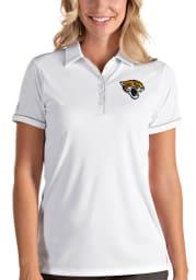 Antigua Jacksonville Jaguars Womens White Salute Short Sleeve Polo Shirt
