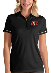 Antigua San Francisco 49ers Womens Black Salute Short Sleeve Polo Shirt