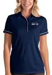 Antigua Seattle Seahawks Womens Navy Blue Salute Short Sleeve Polo Shirt