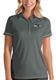 Antigua Seattle Seahawks Womens Grey Salute Short Sleeve Polo Shirt