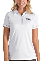 Antigua Seattle Seahawks Womens White Salute Short Sleeve Polo Shirt