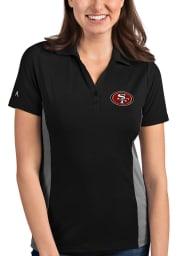 Antigua San Francisco 49ers Womens Black Venture Short Sleeve Polo Shirt
