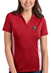 Antigua San Francisco 49ers Womens Red Venture Short Sleeve Polo Shirt