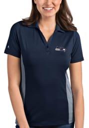 Antigua Seattle Seahawks Womens Navy Blue Venture Short Sleeve Polo Shirt