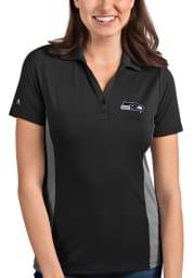 Antigua Seattle Seahawks Womens Grey Venture Short Sleeve Polo Shirt