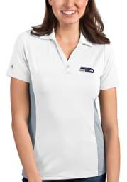 Antigua Seattle Seahawks Womens White Venture Short Sleeve Polo Shirt