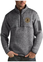 Antigua Boston Bruins Mens Grey Fortune Long Sleeve 1/4 Zip Fashion Pullover