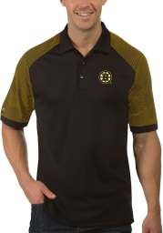 Antigua Boston Bruins Mens Black Engage Short Sleeve Polo