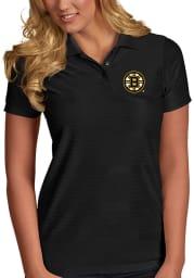 Antigua Boston Bruins Womens Black Illusion Short Sleeve Polo Shirt