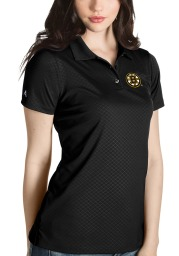 Antigua Boston Bruins Womens Black Inspire Short Sleeve Polo Shirt