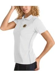 Antigua Boston Bruins Womens White Merit Short Sleeve Polo Shirt