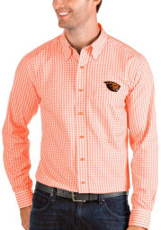 Antigua Oregon State Beavers Mens Orange Structure Long Sleeve Dress Shirt