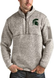 Antigua Michigan State Spartans Mens Oatmeal Fortune Long Sleeve 1/4 Zip Fashion Pullover