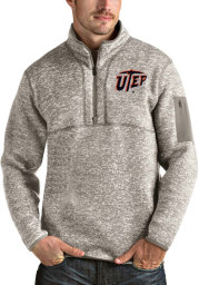 Antigua UTEP Miners Mens Oatmeal Fortune Long Sleeve 1/4 Zip Fashion Pullover