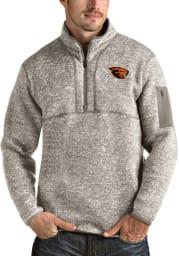 Antigua Oregon State Beavers Mens Oatmeal Fortune Long Sleeve 1/4 Zip Fashion Pullover