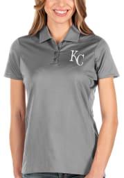 Antigua Kansas City Royals Womens Grey Balance Short Sleeve Polo Shirt