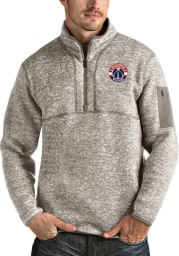 Antigua Washington Wizards Mens Oatmeal Fortune Long Sleeve 1/4 Zip Fashion Pullover