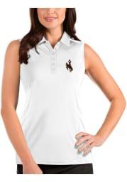 Antigua Wyoming Cowboys Womens White Tribute Sleeveless Tank Top