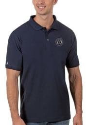 Antigua Philadelphia Union Mens Navy Blue Legacy Pique Short Sleeve Polo