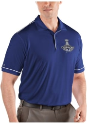 Antigua Tampa Bay Lightning Mens Blue 2021 Stanley Cup Champions Salute Short Sleeve Polo
