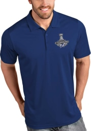 Antigua Tampa Bay Lightning Mens Blue 2021 Stanley Cup Champions Tribute Short Sleeve Polo