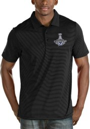 Antigua Tampa Bay Lightning Mens Black 2021 Stanley Cup Champions Quest Short Sleeve Polo