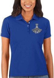 Antigua Tampa Bay Lightning Womens Blue 2021 Stanley Cup Champions Legacy Pique Short Sleeve Polo Shirt