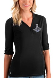 Antigua Tampa Bay Lightning Womens Black 2021 Stanley Cup Champions Accolade LS Tee