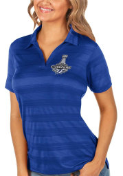 Antigua Tampa Bay Lightning Womens Blue 2021 Stanley Cup Champions Compass Short Sleeve Polo Shirt