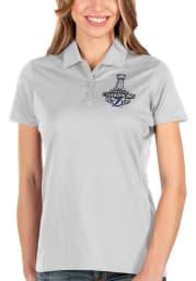 Antigua Tampa Bay Lightning Womens White 2021 Stanley Cup Champions Balance Short Sleeve Polo Shirt