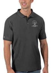 Antigua Tampa Bay Lightning Mens Grey 2021 Stanley Cup Champions Legacy Pique Short Sleeve Polo