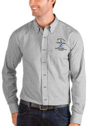 Antigua Tampa Bay Lightning Mens Grey 2021 Stanley Cup Champions Structure Long Sleeve Dress Shirt
