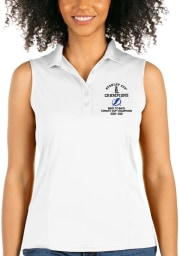 Antigua Tampa Bay Lightning Womens White 2021 Stanley Cup Champions Sleeveless Tribute Tank Top