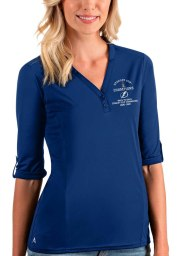 Antigua Tampa Bay Lightning Womens Blue 2021 Stanley Cup Champions Accolade LS Tee