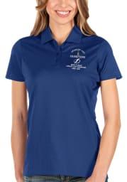 Antigua Tampa Bay Lightning Womens Blue 2021 Stanley Cup Champions Balance Short Sleeve Polo Shirt