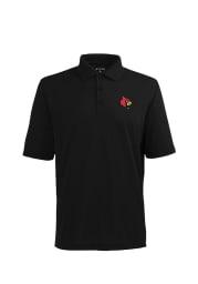 Antigua Louisville Cardinals Mens Black Pique Extra Light Short Sleeve Polo