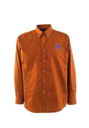 Antigua New York Mets Mens Orange Esteem Long Sleeve Dress Shirt