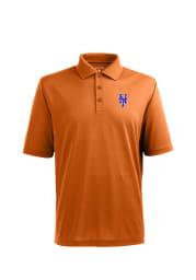Antigua New York Mets Mens Orange Pique Xtra-Lite Short Sleeve Polo