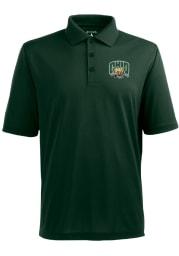 Antigua Ohio Bobcats Mens Green Pique Short Sleeve Polo